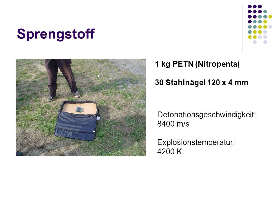 Sprengstoff 1 kg PETN (Nitropenta) 30 Stahlnägel 120 x 4 mm Detonationsgeschwindigkeit: 8400 m/s Explosionstemperatur: 4200 K