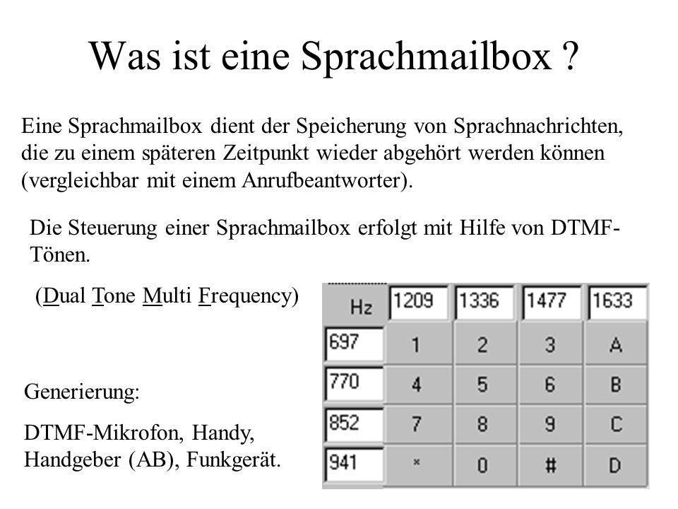 Was ist eine Sprachmailbox ? Generierung: DTMF-Mikrofon, Handy, Handgeber (AB), Funkgerät. Eine Sprachmailbox dient der Speicherung von Sprachnachrich