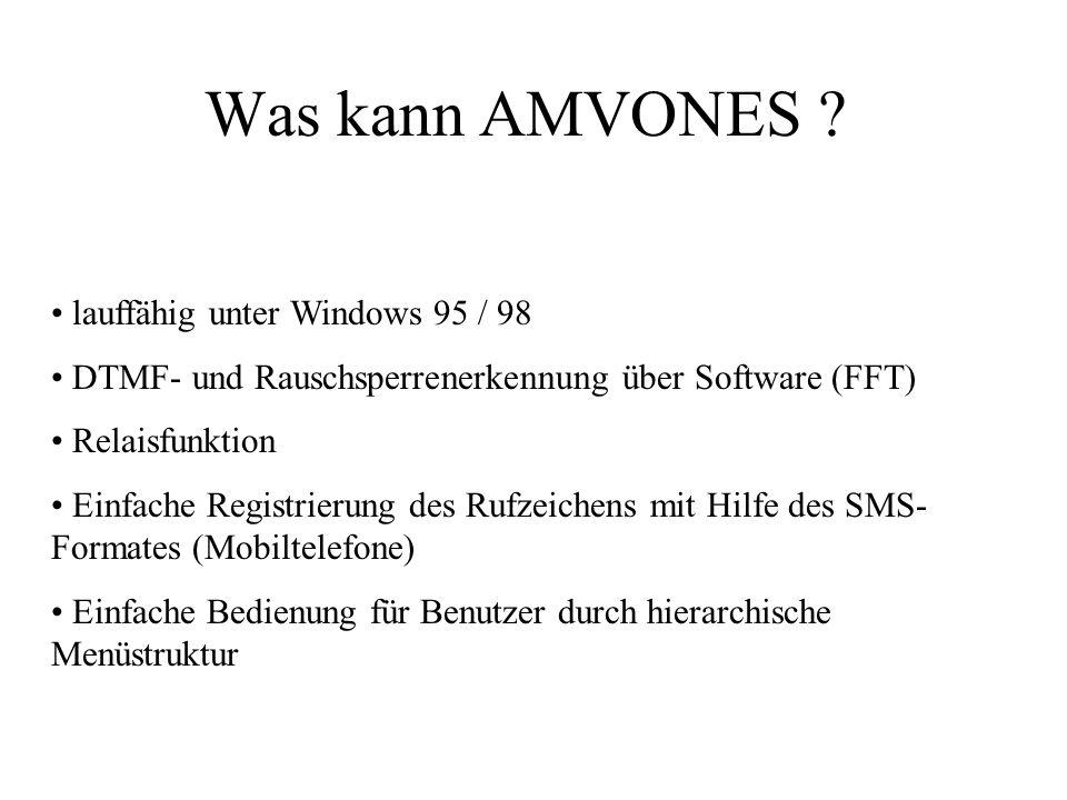 Was kann AMVONES ? lauffähig unter Windows 95 / 98 DTMF- und Rauschsperrenerkennung über Software (FFT) Relaisfunktion Einfache Registrierung des Rufz