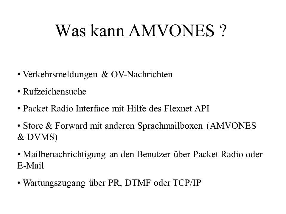 Was kann AMVONES ? Verkehrsmeldungen & OV-Nachrichten Rufzeichensuche Packet Radio Interface mit Hilfe des Flexnet API Store & Forward mit anderen Spr
