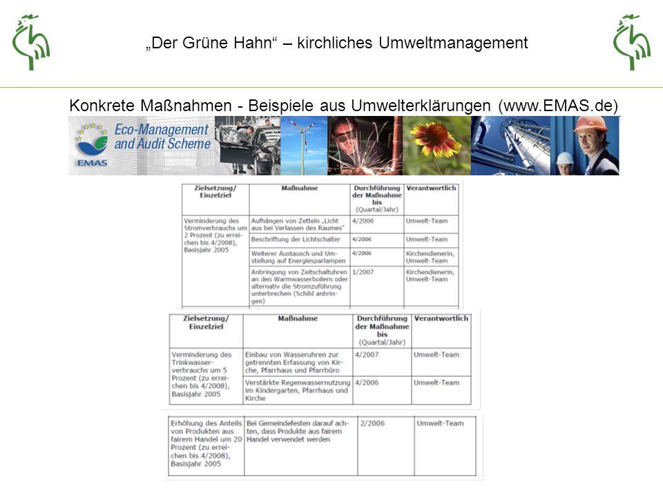 Der Grüne Hahn – kirchliches Umweltmanagement Konkrete Maßnahmen - Beispiele aus Umwelterklärungen (www.EMAS.de)