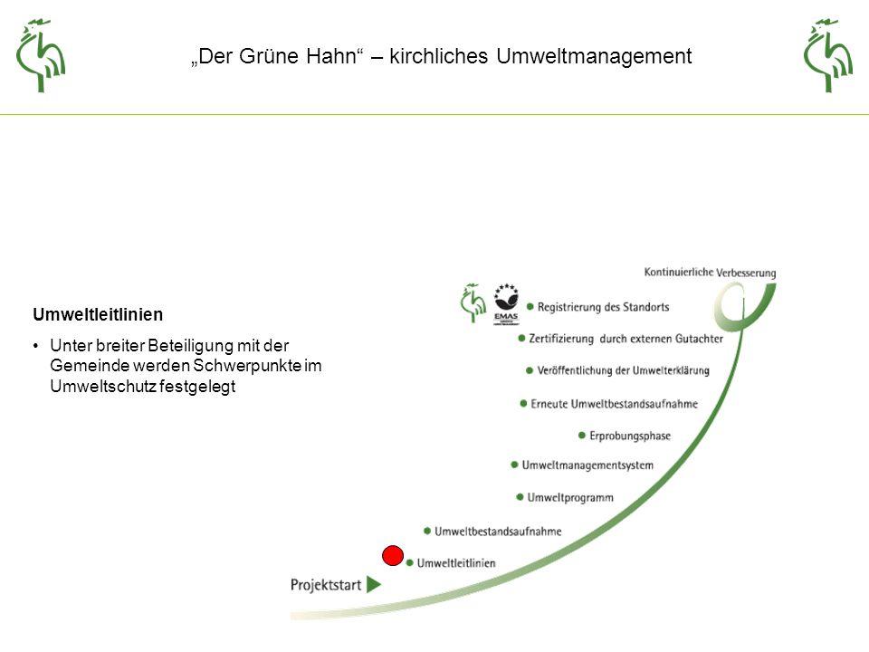 Der Grüne Hahn – kirchliches Umweltmanagement Umweltleitlinien Unter breiter Beteiligung mit der Gemeinde werden Schwerpunkte im Umweltschutz festgelegt