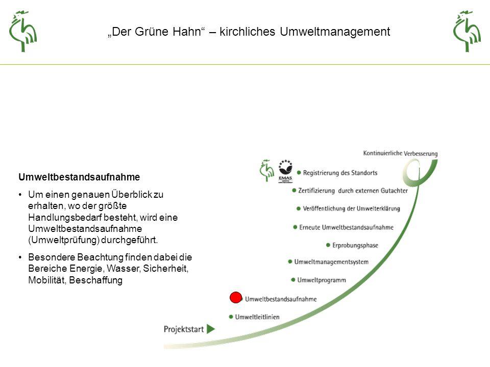 Der Grüne Hahn – kirchliches Umweltmanagement Umweltbestandsaufnahme Um einen genauen Überblick zu erhalten, wo der größte Handlungsbedarf besteht, wird eine Umweltbestandsaufnahme (Umweltprüfung) durchgeführt.