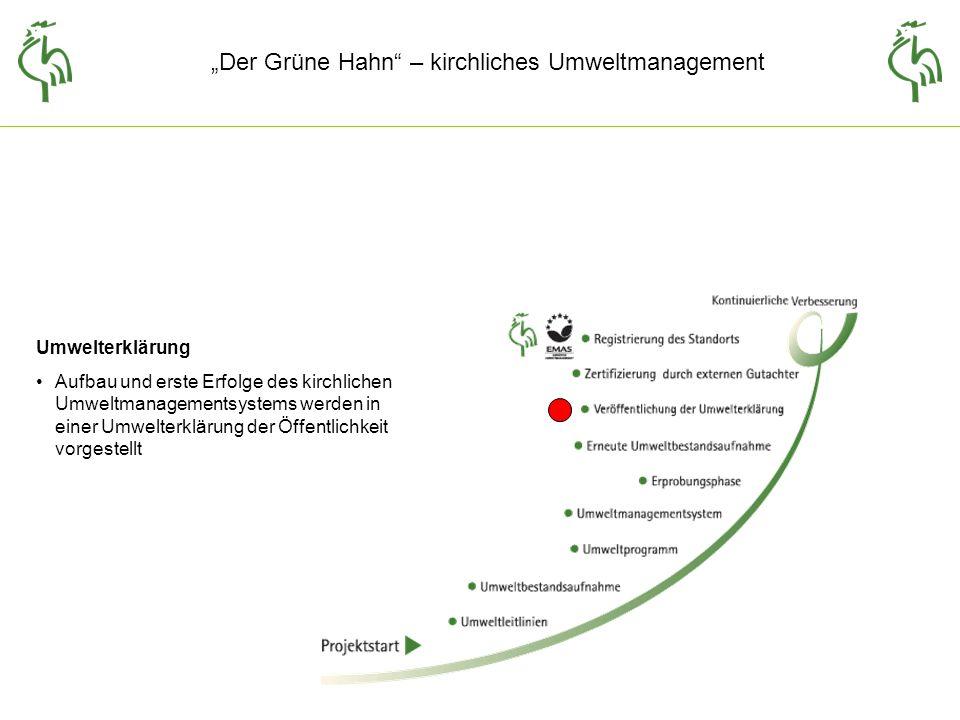 Der Grüne Hahn – kirchliches Umweltmanagement Umwelterklärung Aufbau und erste Erfolge des kirchlichen Umweltmanagementsystems werden in einer Umwelterklärung der Öffentlichkeit vorgestellt
