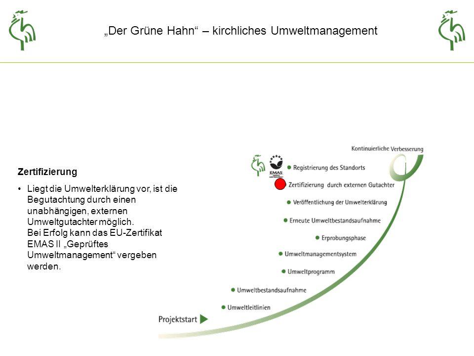 Der Grüne Hahn – kirchliches Umweltmanagement Wie geht es weiter.