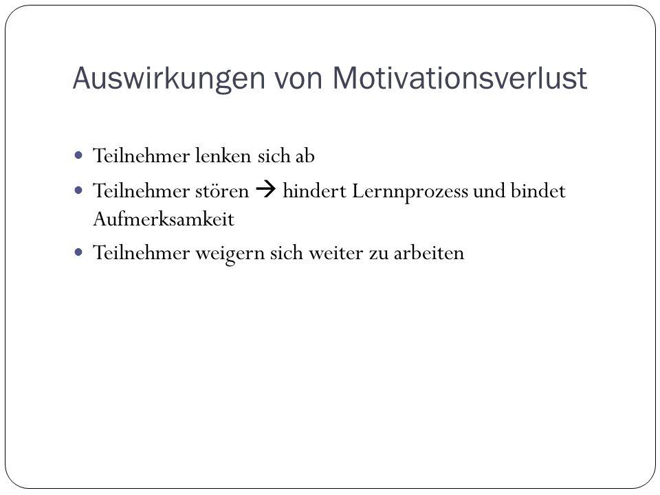 Auswirkungen von Motivationsverlust Teilnehmer lenken sich ab Teilnehmer stören hindert Lernnprozess und bindet Aufmerksamkeit Teilnehmer weigern sich