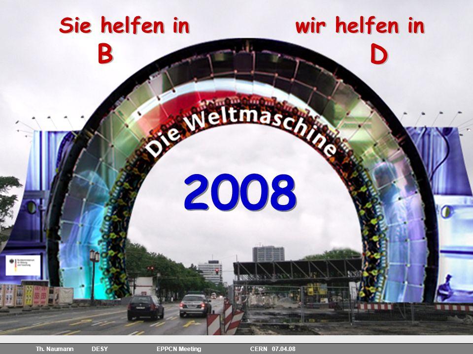 26 Th. Naumann DESY EPPCN Meeting CERN 07.04.08 2008 Sie helfen inwir helfen in BD Sie helfen inwir helfen in BD