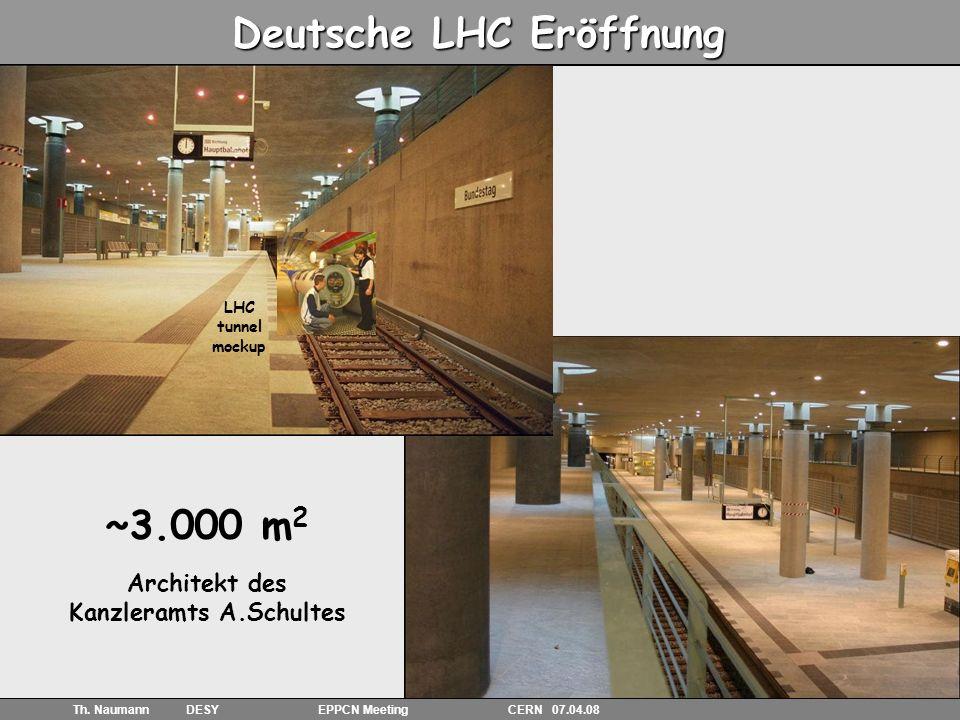 6 Th. Naumann DESY EPPCN Meeting CERN 07.04.08 Deutsche LHC Eröffnung U-Bahn Station Bundestag ~3.000 m 2 Architekt des Kanzleramts A.Schultes LHC tun