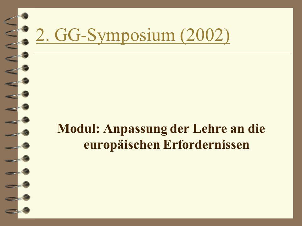 2. GG-Symposium (2002) Modul: Anpassung der Lehre an die europäischen Erfordernissen
