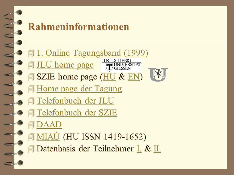 Rahmeninformationen 4 1. Online Tagungsband (1999) 1. Online Tagungsband (1999) 4 JLU home page JLU home page 4 SZIE home page (HU & EN)HUEN 4 Home pa