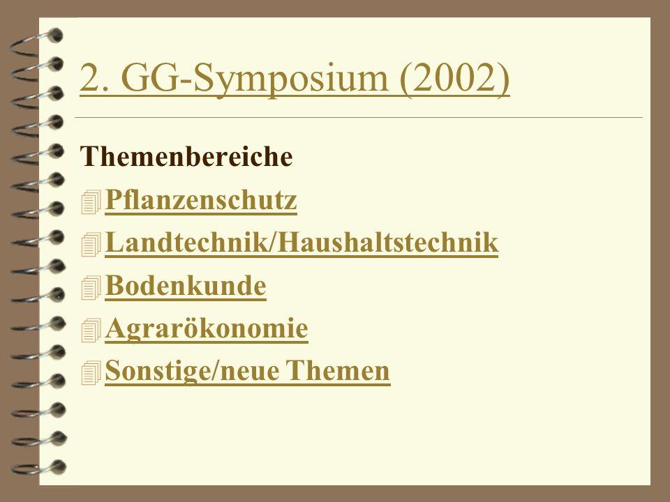 2. GG-Symposium (2002) Themenbereiche 4 Pflanzenschutz Pflanzenschutz 4 Landtechnik/Haushaltstechnik Landtechnik/Haushaltstechnik 4 Bodenkunde Bodenku