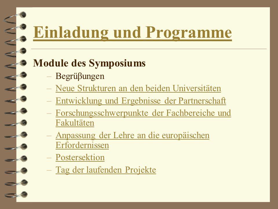 Einladung und Programme Module des Symposiums –Begrüβungen –Neue Strukturen an den beiden UniversitätenNeue Strukturen an den beiden Universitäten –En