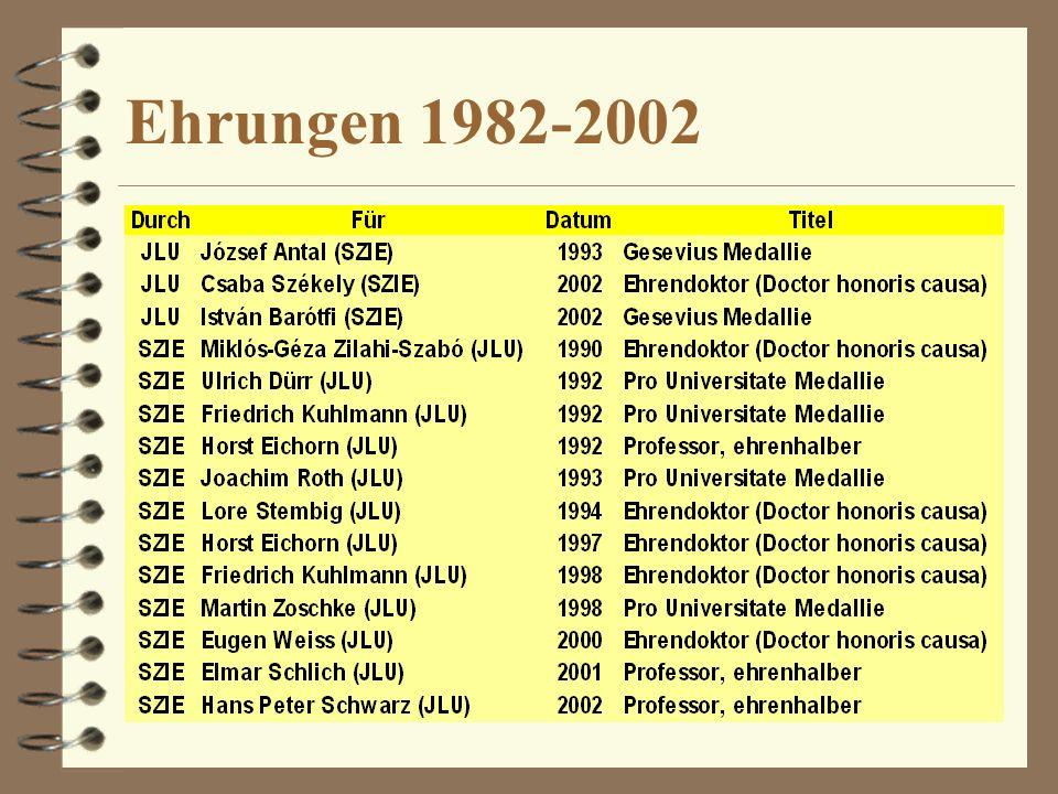 Ehrungen 1982-2002