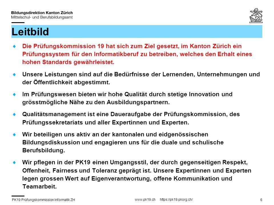 PK19 Prüfungskommission Informatik ZH www.pk19.ch https://pk19.pkorg.ch/ 27 Facharbeit – Beurteilung (4) Teil B (Qualität Resultat / Doku) 4 Kriterien sind gegeben / 8 müssen passend zur Arbeit ergänzt werden aus dem Standardkriterienkatalog selber festgelegt Die eigenen Kriterien sollen viel konkreter auf die Aufgabenstellung abgestimmt sein als die aus dem Standardkriterienkatalog.