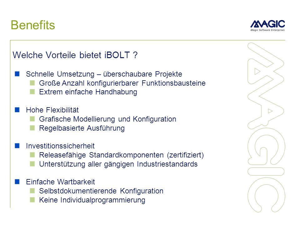 Benefits Welche Vorteile bietet iBOLT ? Schnelle Umsetzung – überschaubare Projekte Große Anzahl konfigurierbarer Funktionsbausteine Extrem einfache H