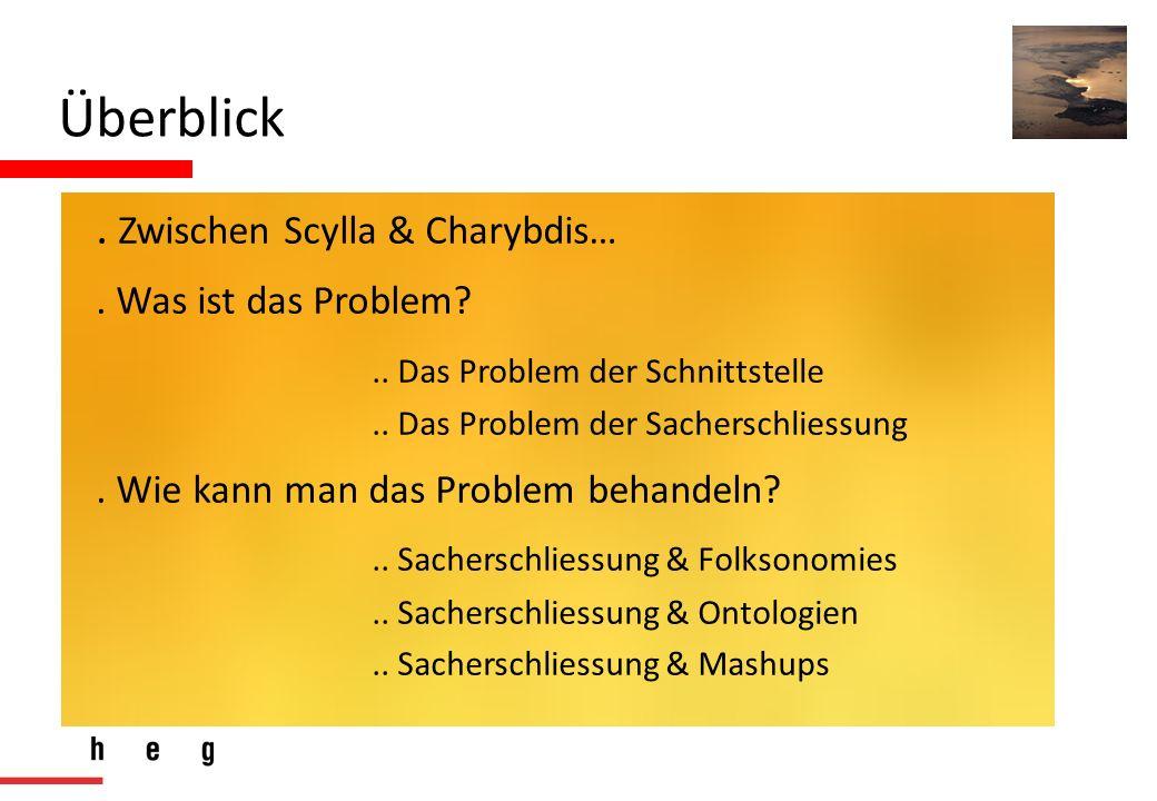 Überblick. Zwischen Scylla & Charybdis…. Was ist das Problem?.. Das Problem der Schnittstelle.. Das Problem der Sacherschliessung. Wie kann man das Pr