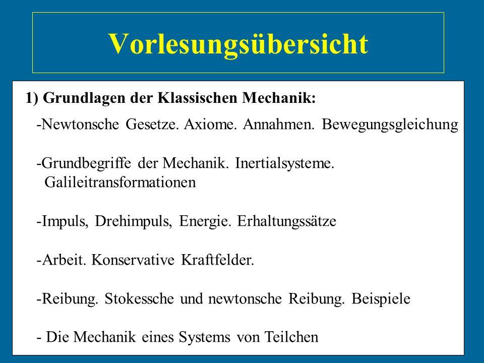 Vorlesungsübersicht 1) Grundlagen der Klassischen Mechanik: -Newtonsche Gesetze. Axiome. Annahmen. Bewegungsgleichung -Grundbegriffe der Mechanik. Ine