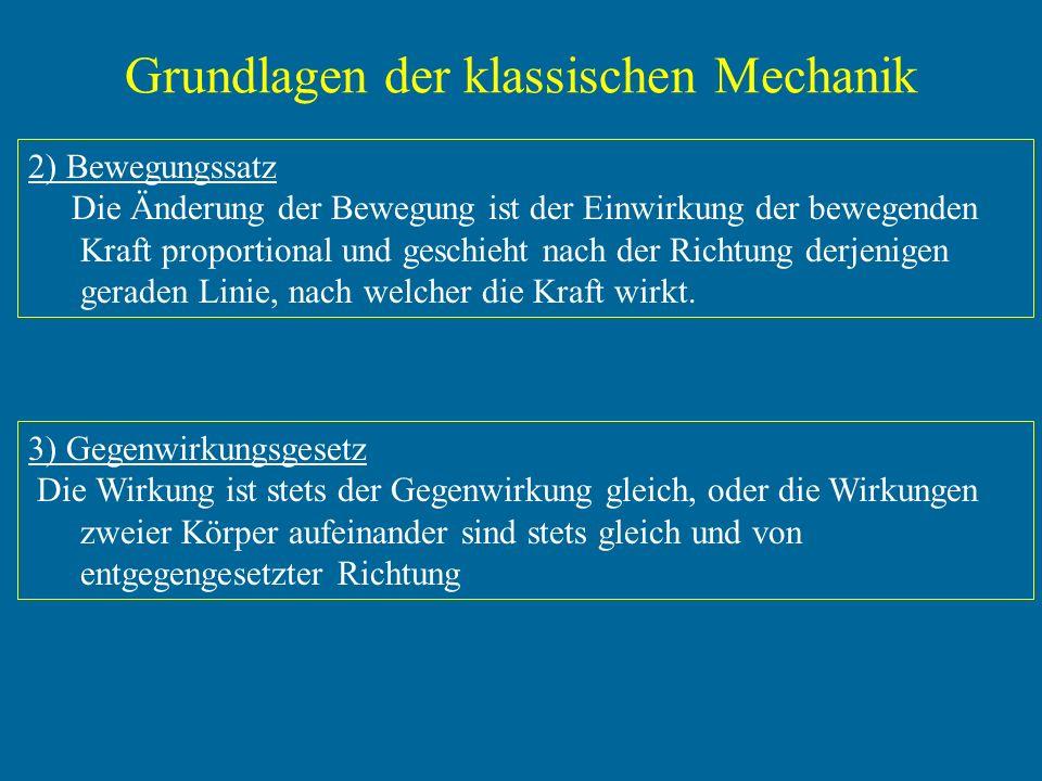 Grundlagen der klassischen Mechanik 2) Bewegungssatz Die Änderung der Bewegung ist der Einwirkung der bewegenden Kraft proportional und geschieht nach