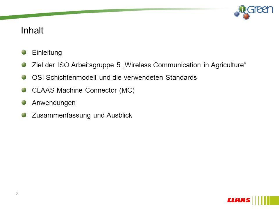 Inhalt Einleitung Ziel der ISO Arbeitsgruppe 5 Wireless Communication in Agriculture OSI Schichtenmodell und die verwendeten Standards CLAAS Machine Connector (MC) Anwendungen Zusammenfassung und Ausblick 2