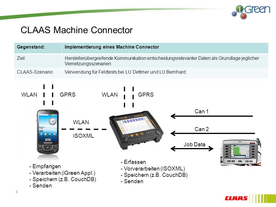 CLAAS Machine Connector 6 Can 1 Can 2 WLAN GPRS WLAN - Erfassen - Vorverarbeiten (ISOXML) - Speichern (z.B.