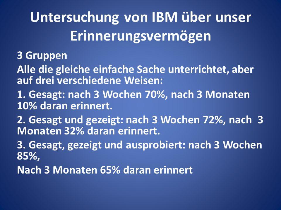 Untersuchung von IBM über unser Erinnerungsvermögen 3 Gruppen Alle die gleiche einfache Sache unterrichtet, aber auf drei verschiedene Weisen: 1.