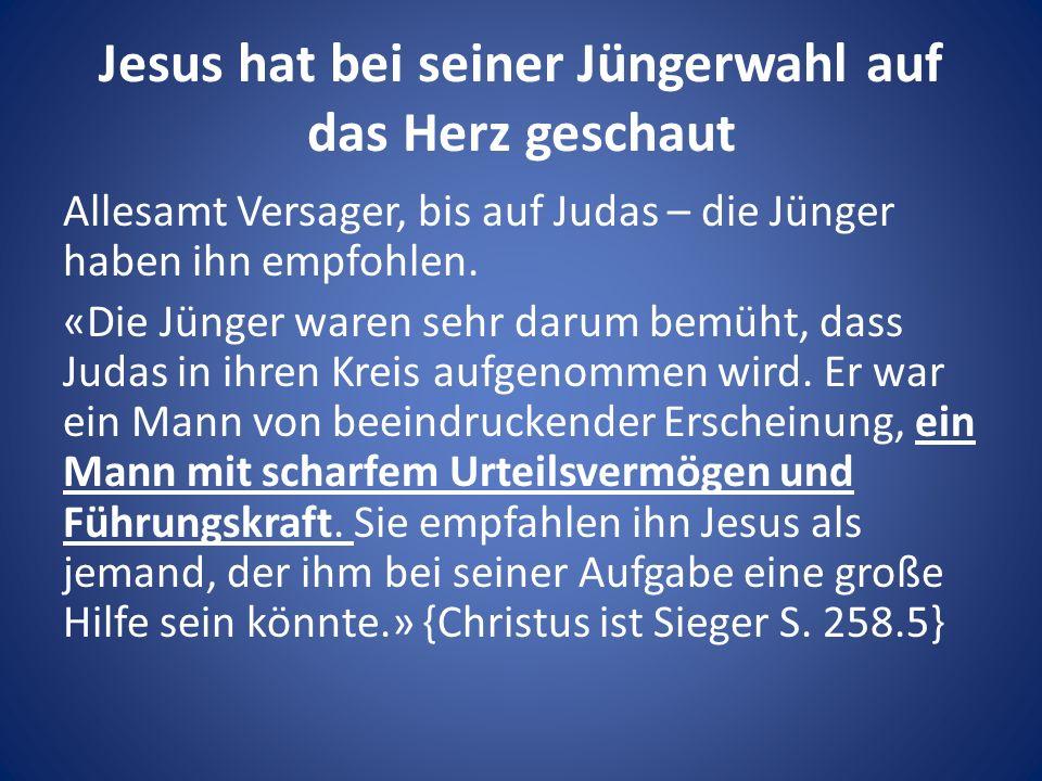 Jesus hat bei seiner Jüngerwahl auf das Herz geschaut Allesamt Versager, bis auf Judas – die Jünger haben ihn empfohlen.