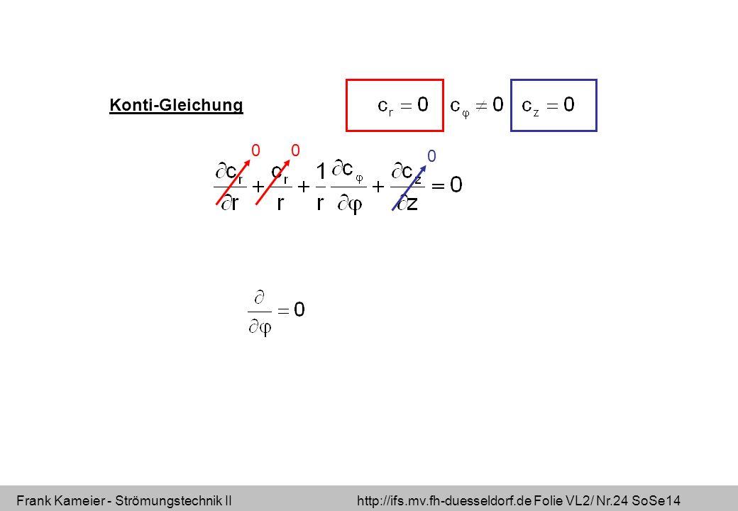 Frank Kameier - Strömungstechnik II http://ifs.mv.fh-duesseldorf.de Folie VL2/ Nr.24 SoSe14 00 0 Konti-Gleichung