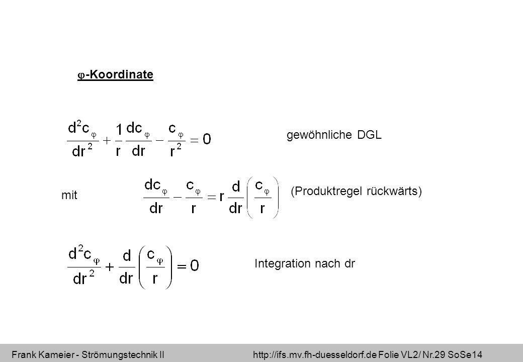Frank Kameier - Strömungstechnik II http://ifs.mv.fh-duesseldorf.de Folie VL2/ Nr.29 SoSe14 -Koordinate gewöhnliche DGL mit (Produktregel rückwärts) Integration nach dr