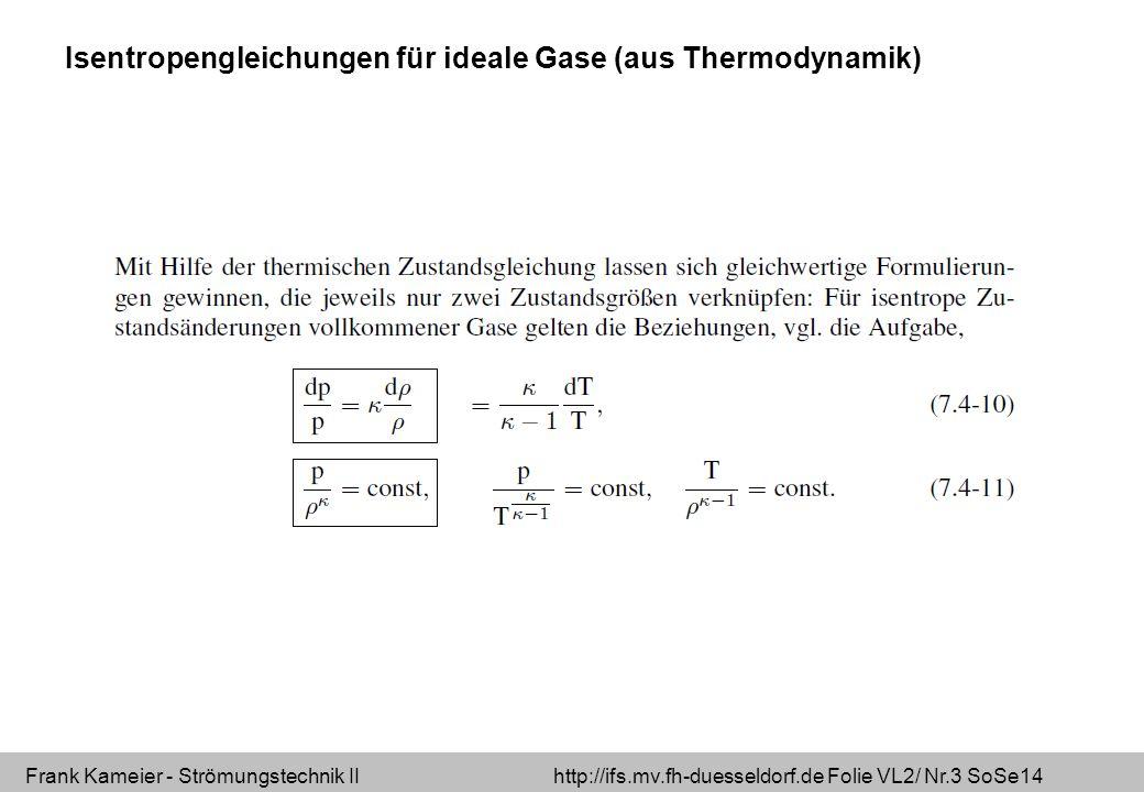 Frank Kameier - Strömungstechnik II http://ifs.mv.fh-duesseldorf.de Folie VL2/ Nr.4 SoSe14 Isentropengleichungen für ideale Gase (aus Thermodynamik)