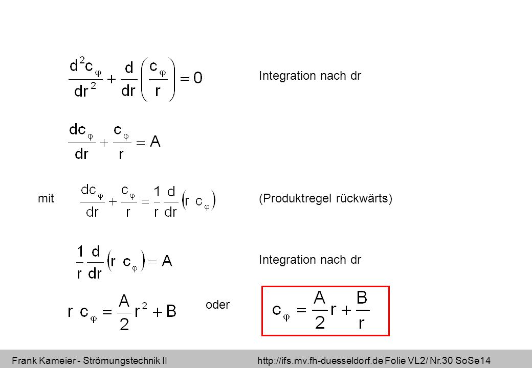 Frank Kameier - Strömungstechnik II http://ifs.mv.fh-duesseldorf.de Folie VL2/ Nr.30 SoSe14 Integration nach dr (Produktregel rückwärts)mit Integration nach dr oder