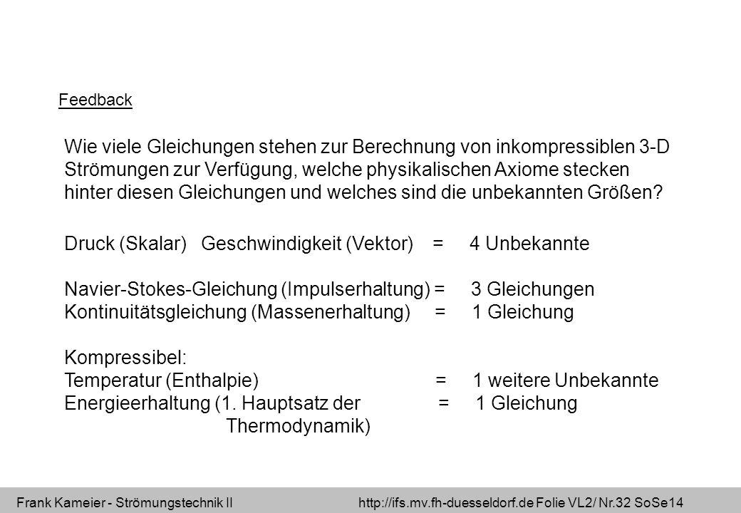 Frank Kameier - Strömungstechnik II http://ifs.mv.fh-duesseldorf.de Folie VL2/ Nr.32 SoSe14 Wie viele Gleichungen stehen zur Berechnung von inkompressiblen 3-D Strömungen zur Verfügung, welche physikalischen Axiome stecken hinter diesen Gleichungen und welches sind die unbekannten Größen.