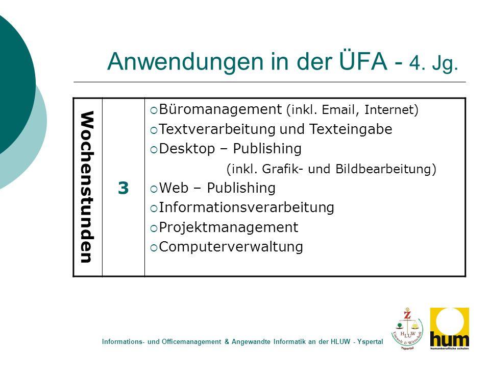 Anwendungen in der ÜFA - 4. Jg. Wochenstunden 3 Büromanagement (inkl. Email, Internet) Textverarbeitung und Texteingabe Desktop – Publishing (inkl. Gr
