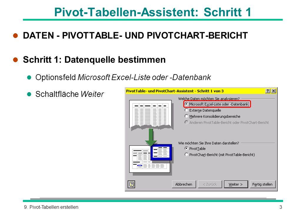 9. Pivot-Tabellen erstellen3 Pivot-Tabellen-Assistent: Schritt 1 l DATEN - PIVOTTABLE- UND PIVOTCHART-BERICHT l Schritt 1: Datenquelle bestimmen l Opt