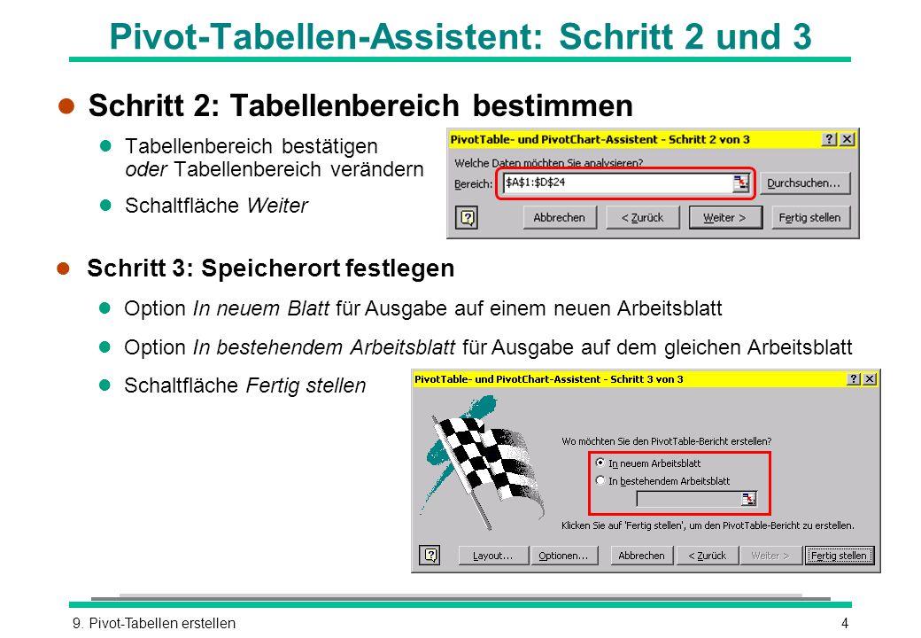 9. Pivot-Tabellen erstellen4 Pivot-Tabellen-Assistent: Schritt 2 und 3 l Schritt 2: Tabellenbereich bestimmen l Tabellenbereich bestätigen oder Tabell