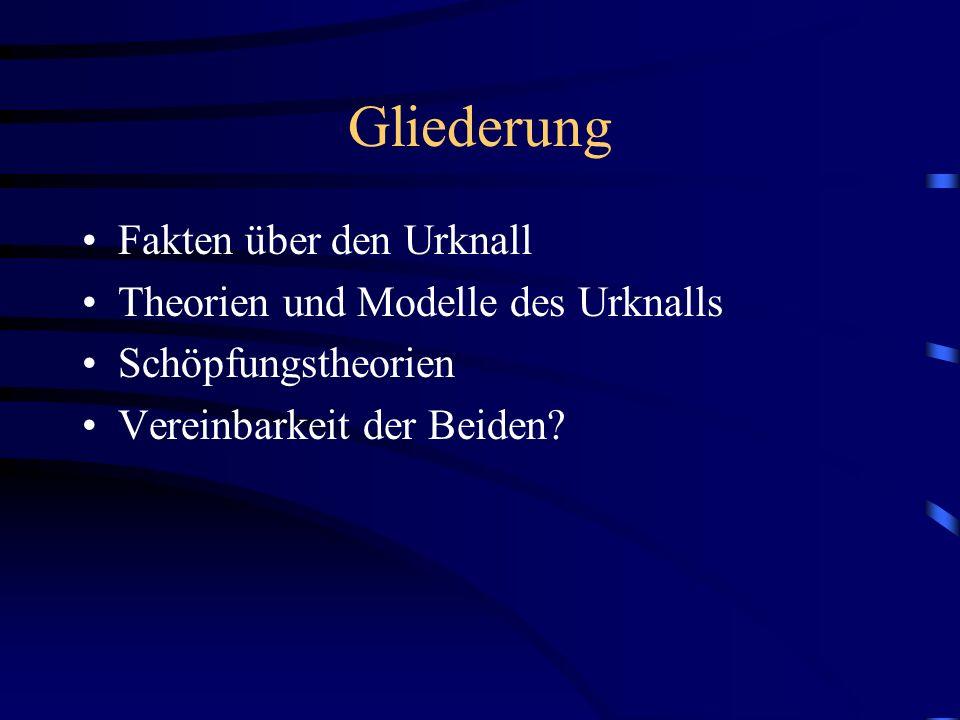 Gliederung Fakten über den Urknall Theorien und Modelle des Urknalls Schöpfungstheorien Vereinbarkeit der Beiden?