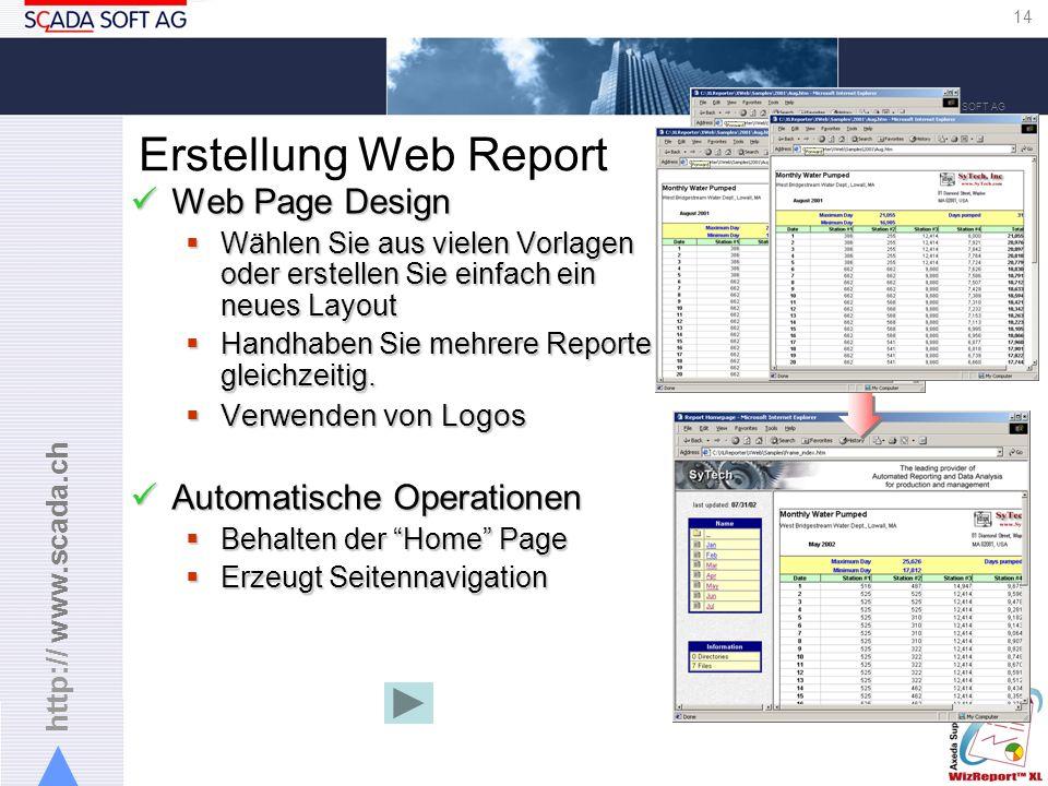 http:// www.scada.ch 14 Copyright 2005 SCADA SOFT AG Erstellung Web Report Web Page Design Web Page Design Wählen Sie aus vielen Vorlagen oder erstellen Sie einfach ein neues Layout Wählen Sie aus vielen Vorlagen oder erstellen Sie einfach ein neues Layout Handhaben Sie mehrere Reporte gleichzeitig.