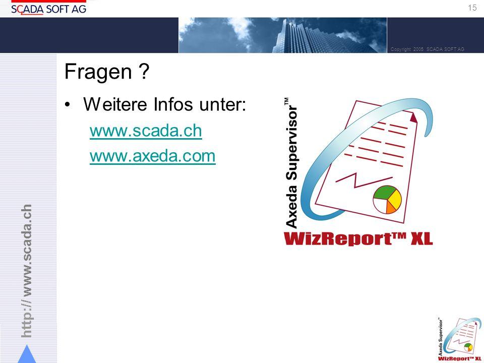 http:// www.scada.ch 15 Copyright 2005 SCADA SOFT AG Fragen .