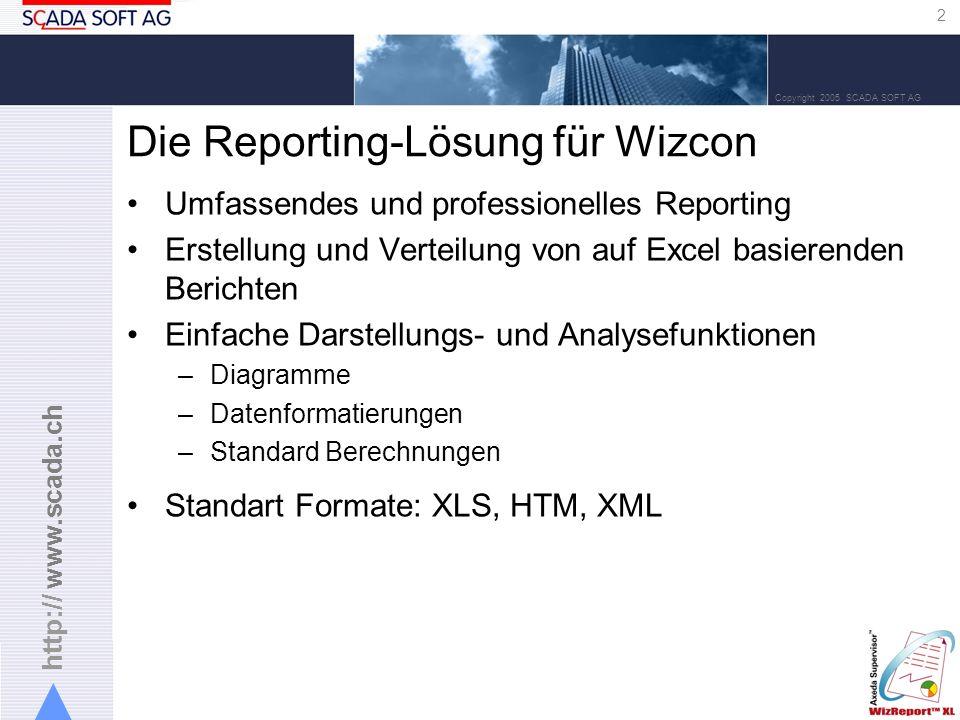 http:// www.scada.ch 2 Copyright 2005 SCADA SOFT AG Die Reporting-Lösung für Wizcon Umfassendes und professionelles Reporting Erstellung und Verteilung von auf Excel basierenden Berichten Einfache Darstellungs- und Analysefunktionen –Diagramme –Datenformatierungen –Standard Berechnungen Standart Formate: XLS, HTM, XML
