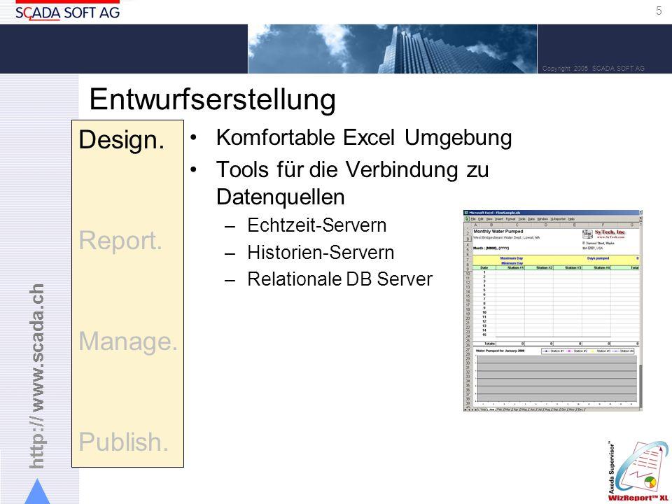 http:// www.scada.ch 5 Copyright 2005 SCADA SOFT AG Entwurfserstellung Komfortable Excel Umgebung Tools für die Verbindung zu Datenquellen –Echtzeit-Servern –Historien-Servern –Relationale DB Server Design.