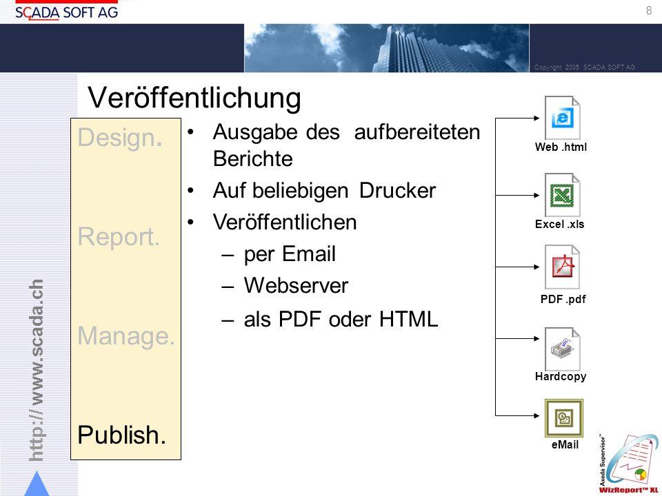 http:// www.scada.ch 8 Copyright 2005 SCADA SOFT AG Veröffentlichung Design.
