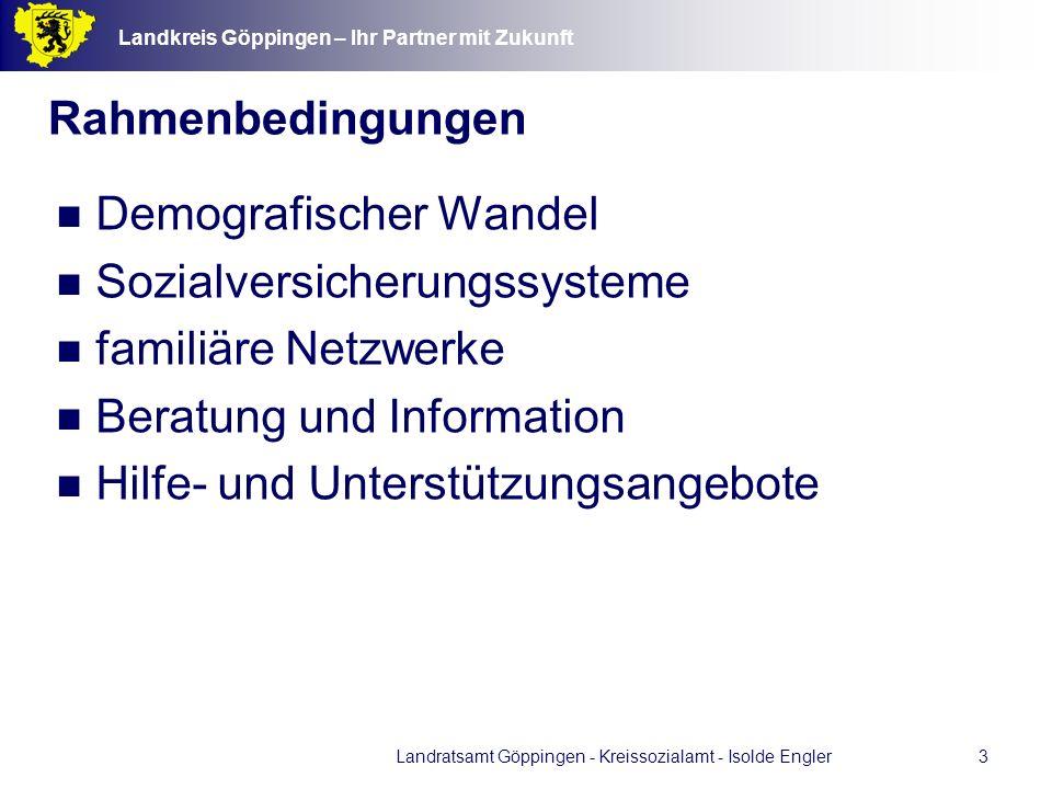 Landkreis Göppingen – Ihr Partner mit Zukunft Landratsamt Göppingen - Kreissozialamt - Isolde Engler4 Demographie - Altersstruktur im Landkreis Göppingen - heute und morgen Prognose Einw.