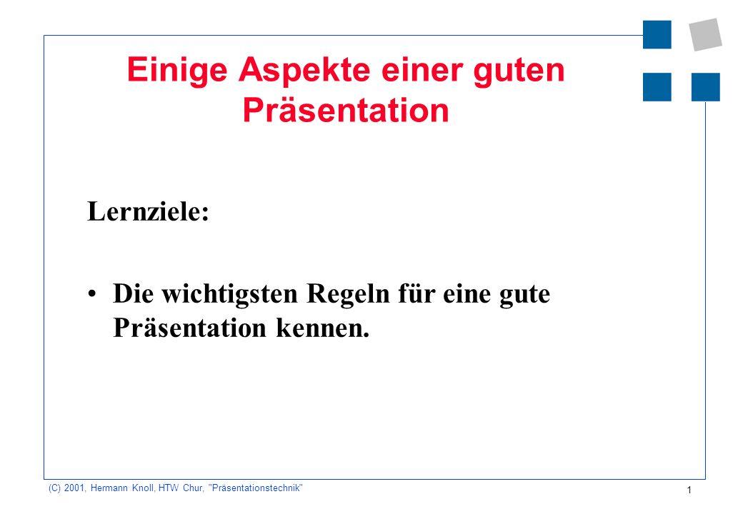12 (C) 2001, Hermann Knoll, HTW Chur, Präsentationstechnik Kriterien für die Beurteilung Auftrag erfüllt (Thema, Zielpublikum, Zeit) Visualisierung (konkret, anschaulich, Kernaussagen, lesbar) Präsentationstechnik (Standort, Rede zur Wand, Zeigetechnik)