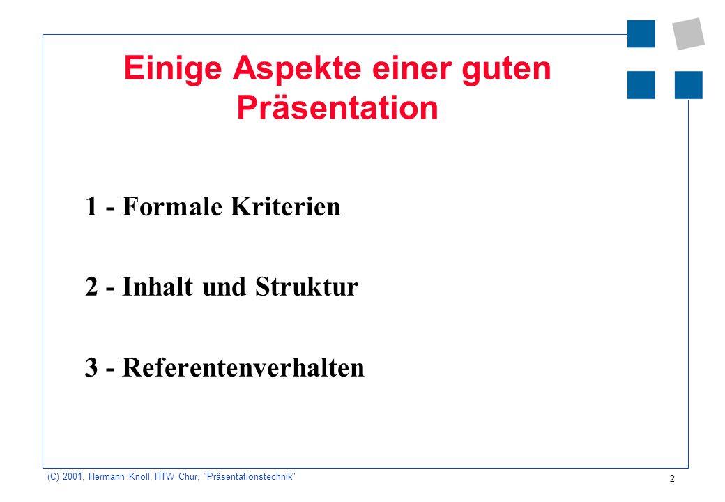 3 (C) 2001, Hermann Knoll, HTW Chur, Präsentationstechnik Präsentationstechnik 8.15 UhrEinführung 8.35 UhrVorbereitung der Präsentationen 5 Gruppen 9.05 UhrPause 9.15 UhrPräsentationen