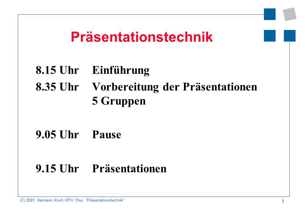 4 (C) 2001, Hermann Knoll, HTW Chur, Präsentationstechnik Die vier Seiten Ihrer Präsentation Selbstaussage Inhalt: Sachaussage/ Argumente Wahrnehmung des Beobachters Ziel