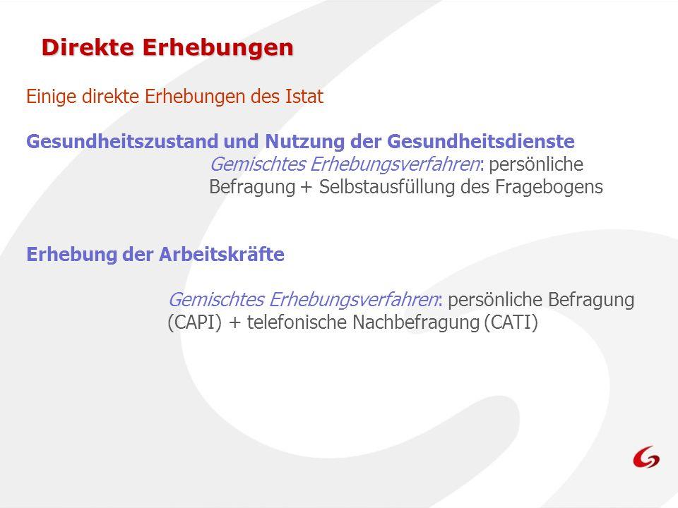 Einige direkte Erhebungen des Istat Gesundheitszustand und Nutzung der Gesundheitsdienste Gemischtes Erhebungsverfahren: persönliche Befragung + Selbstausfüllung des Fragebogens Erhebung der Arbeitskräfte Gemischtes Erhebungsverfahren: persönliche Befragung (CAPI) + telefonische Nachbefragung (CATI)