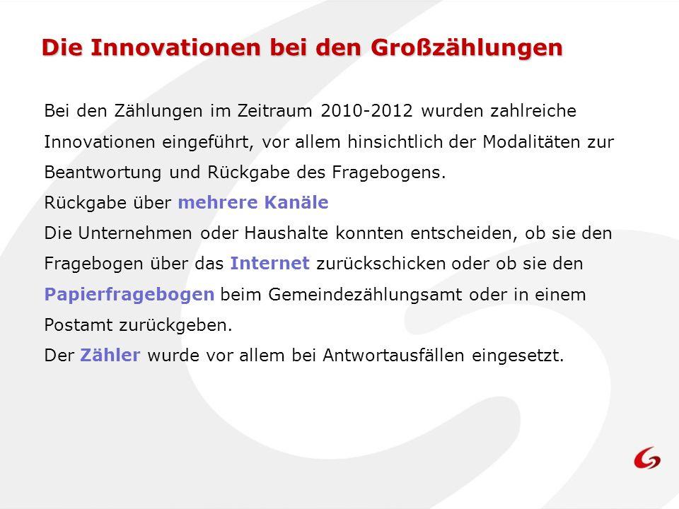 Die Innovationen bei den Großzählungen Bei den Zählungen im Zeitraum 2010-2012 wurden zahlreiche Innovationen eingeführt, vor allem hinsichtlich der Modalitäten zur Beantwortung und Rückgabe des Fragebogens.