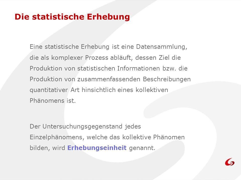 Eine statistische Erhebung ist eine Datensammlung, die als komplexer Prozess abläuft, dessen Ziel die Produktion von statistischen Informationen bzw.