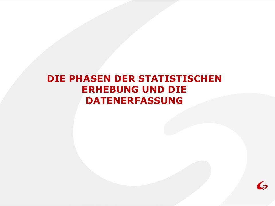 DIE PHASEN DER STATISTISCHEN ERHEBUNG UND DIE DATENERFASSUNG