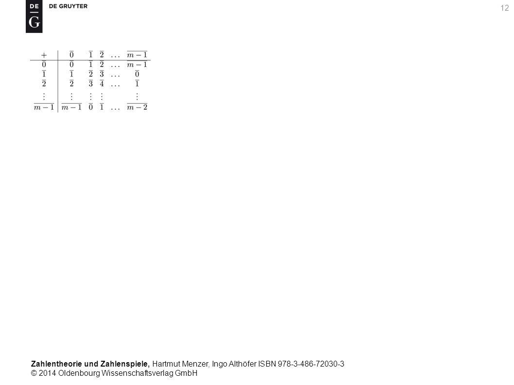 Zahlentheorie und Zahlenspiele, Hartmut Menzer, Ingo Althöfer ISBN 978-3-486-72030-3 © 2014 Oldenbourg Wissenschaftsverlag GmbH 12