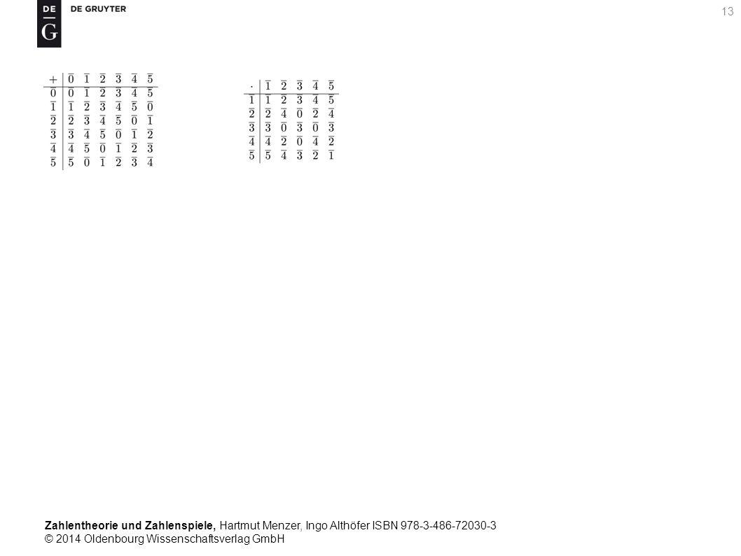 Zahlentheorie und Zahlenspiele, Hartmut Menzer, Ingo Althöfer ISBN 978-3-486-72030-3 © 2014 Oldenbourg Wissenschaftsverlag GmbH 13